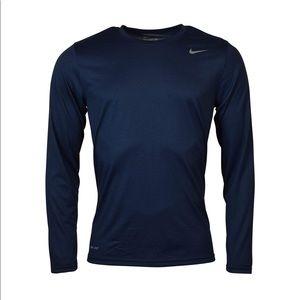 Nike Men's Navy Blue Long Sleeve Dry Fit T…